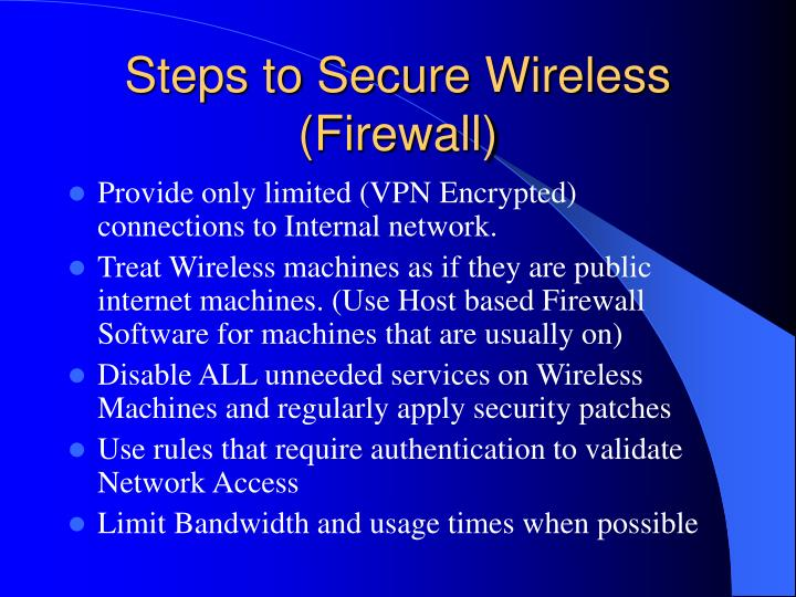 Steps to Secure Wireless (Firewall)