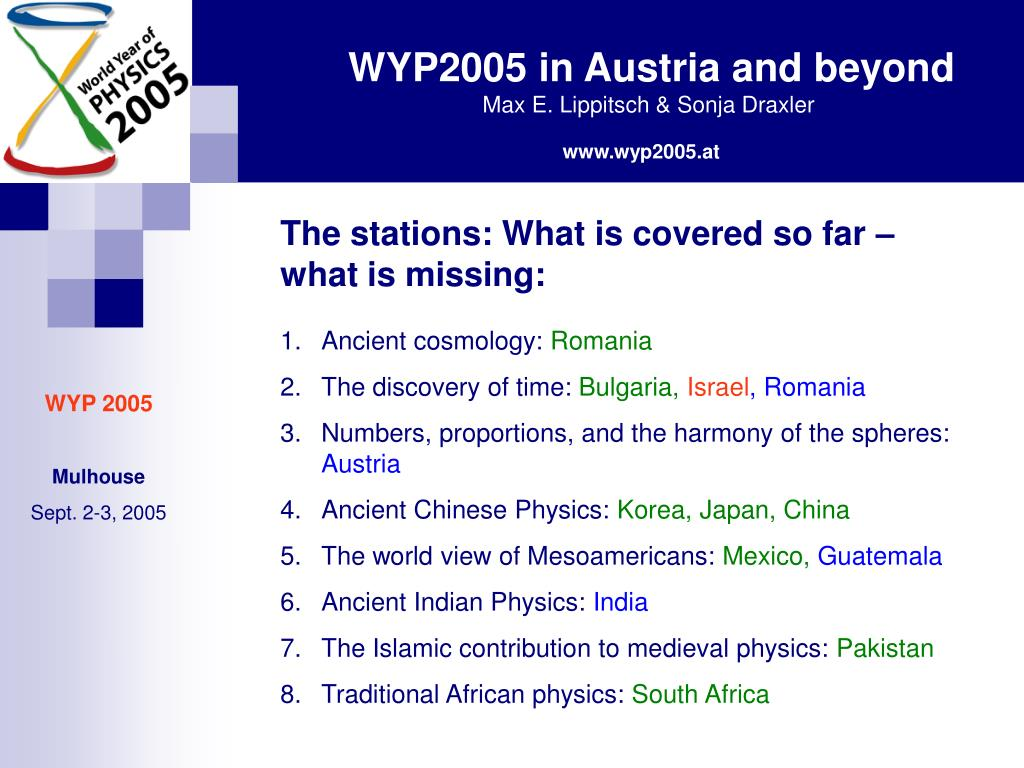 The stations: What is covered so far – what is missing: