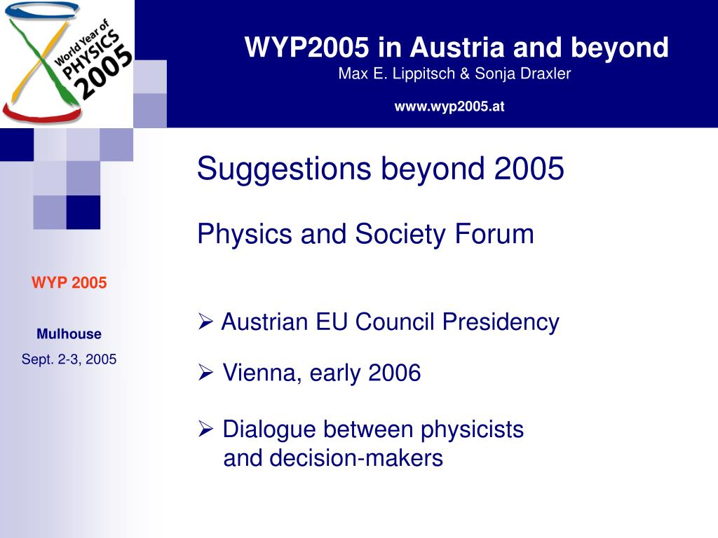 Suggestions beyond 2005