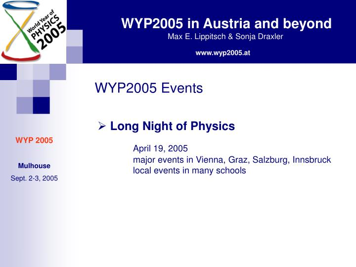 WYP2005 Events