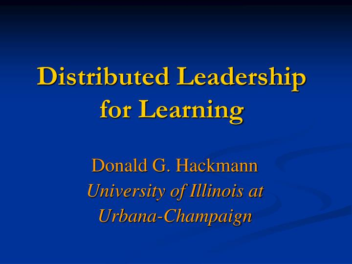 distributed leadership for learning n.