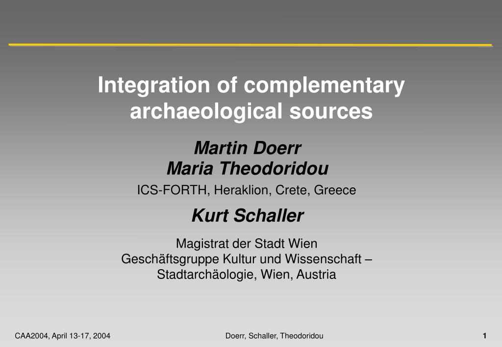 integration of complementary archaeological sources l.