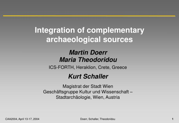 integration of complementary archaeological sources n.