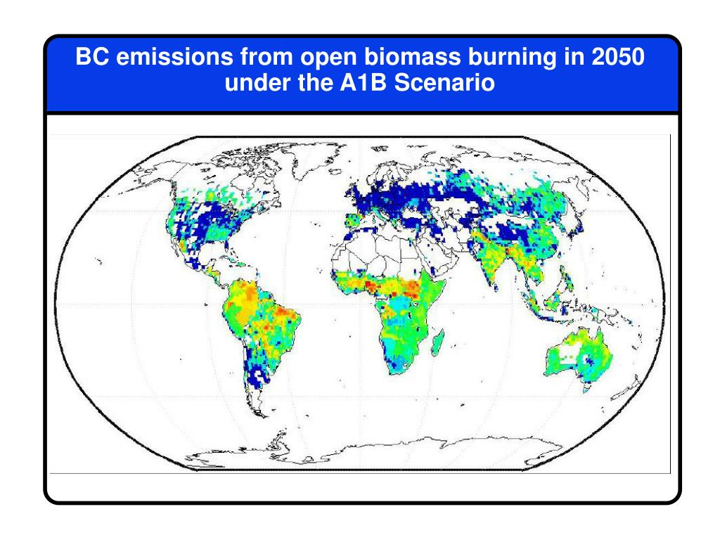 BC emissions from open biomass burning in 2050 under the A1B Scenario