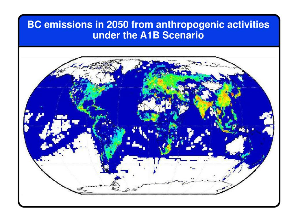BC emissions in 2050 from anthropogenic activities under the A1B Scenario