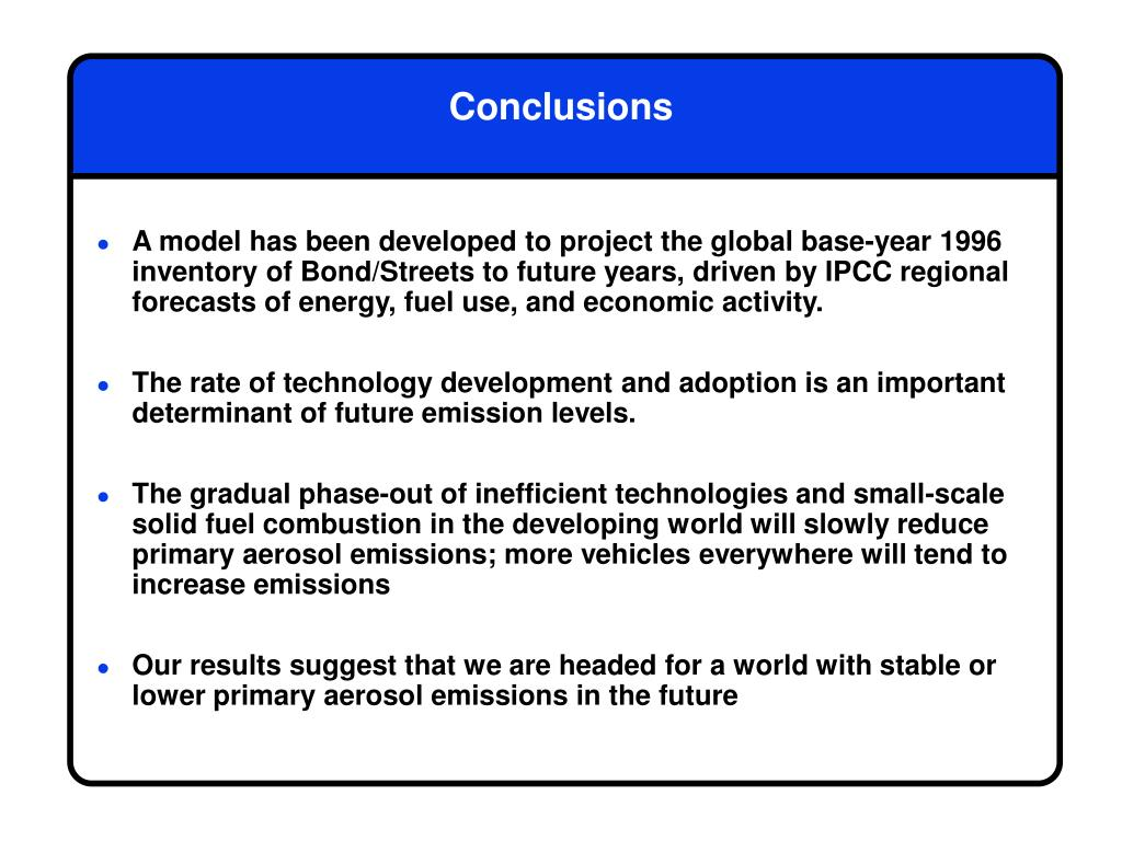 A model has been developed to project the global base-year 1996 inventory of Bond/Streets to future years, driven by IPCC regional forecasts of energy, fuel use, and economic activity.