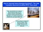 how to forecast future biomass burning the view is greatly obscured modified ipcc view used