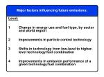 major factors influencing future emissions