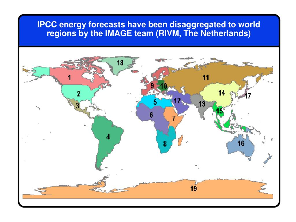 IPCC energy forecasts have been disaggregated to world