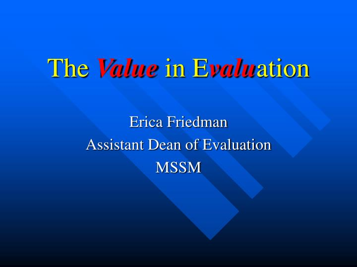 the value in e valu ation n.
