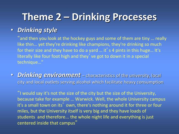 Theme 2 – Drinking Processes