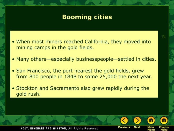 Booming cities