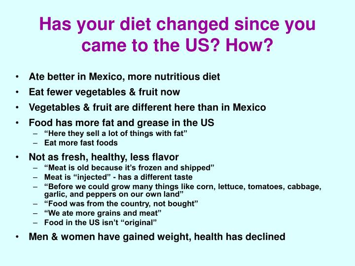Has your diet changed since you came to the US? How?