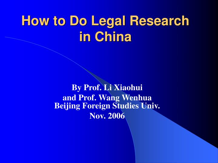 how to do legal research in china n.