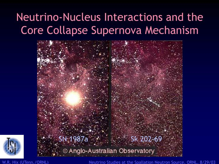 neutrino nucleus interactions and the core collapse supernova mechanism n.
