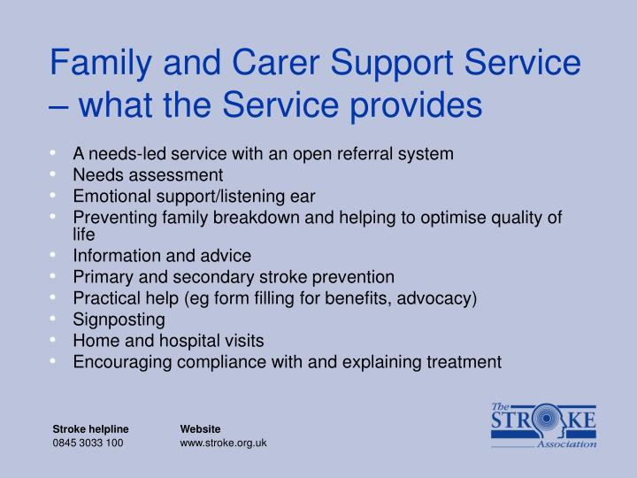 family and carer support service what the service provides n.