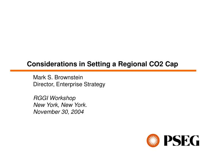 considerations in setting a regional co2 cap n.