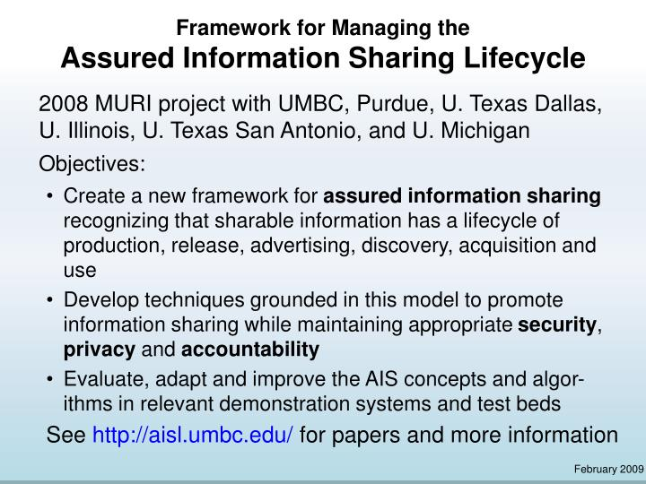 framework for managing the assured information sharing lifecycle n.