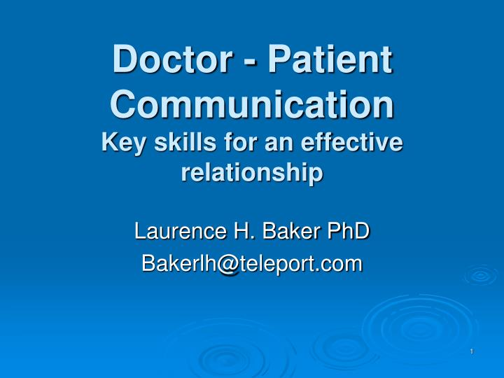 doctor patient communication key skills for an effective relationship n.