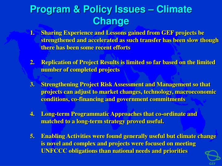 Program & Policy Issues – Climate Change