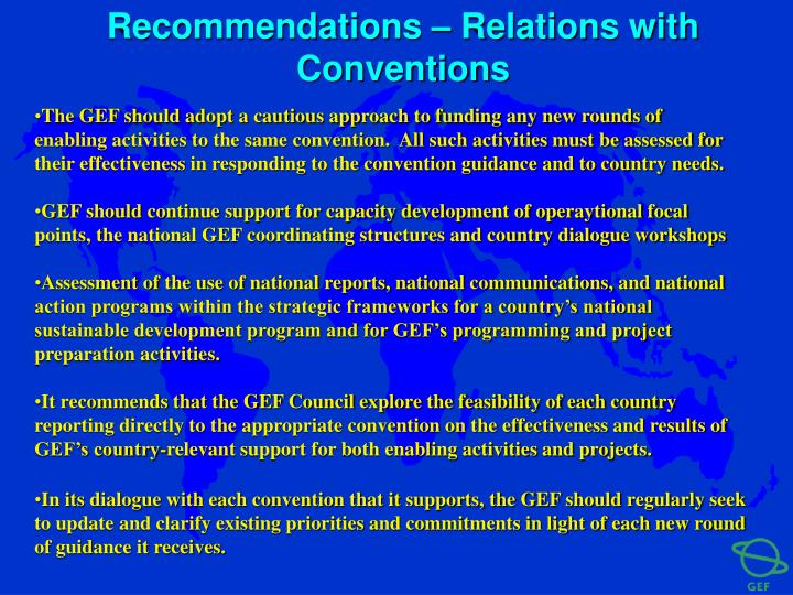 Recommendations – Relations with Conventions