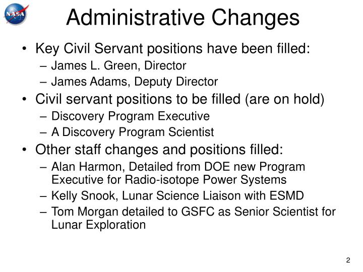 Administrative changes