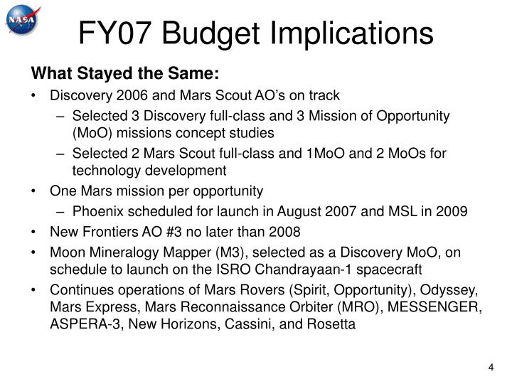 FY07 Budget Implications
