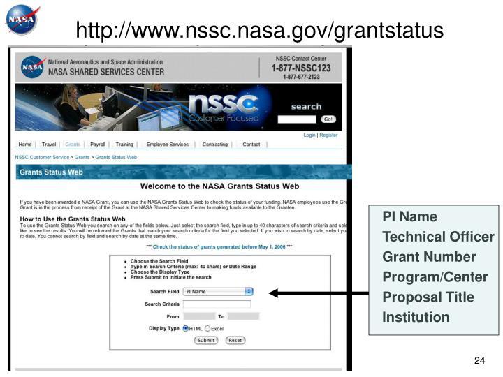 http://www.nssc.nasa.gov/grantstatus