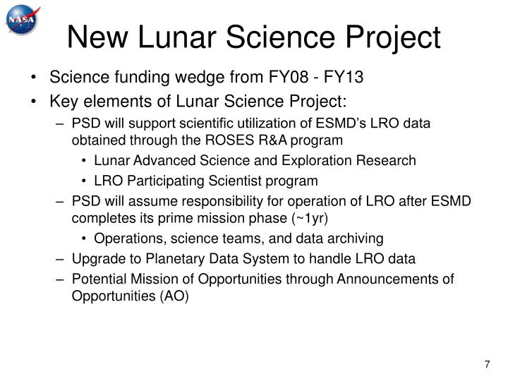 New Lunar Science Project