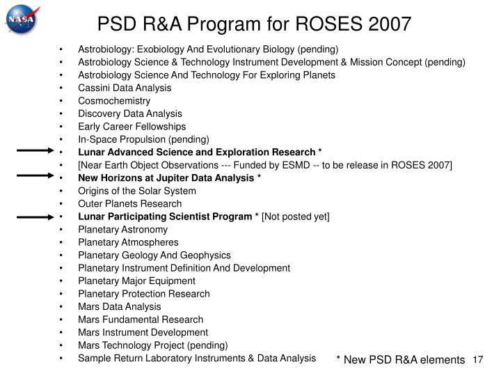 PSD R&A Program for ROSES 2007