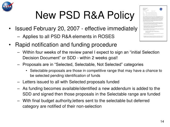 New PSD R&A Policy