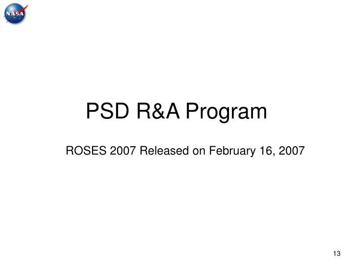 PSD R&A Program