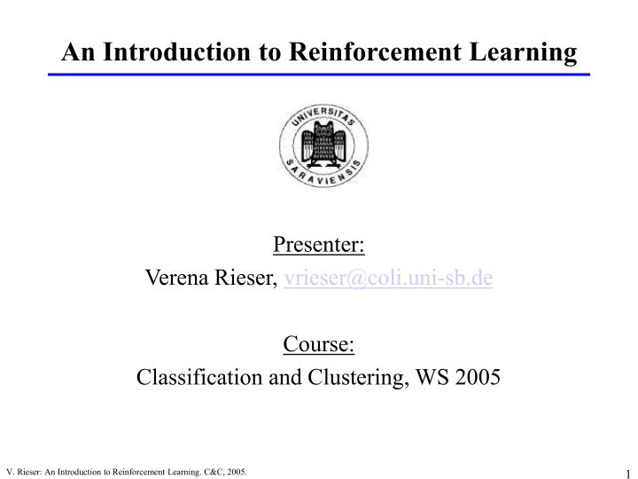 an introduction to reinforcement learning n.