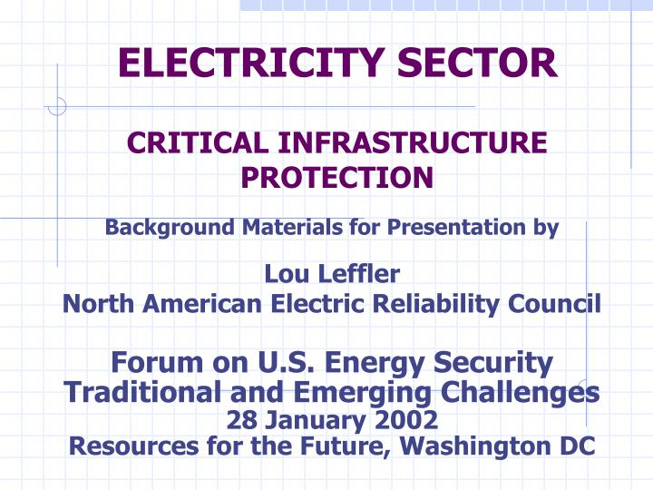 electricity sector critical infrastructure protection n.