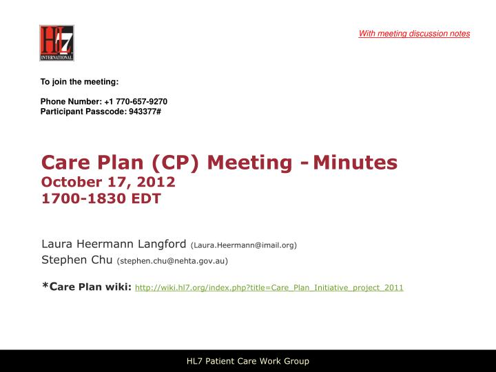 care plan cp meeting minutes october 17 2012 1700 1830 edt n.