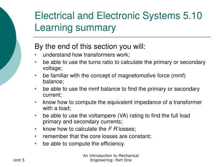 Electrical and Electronic Systems 5.10