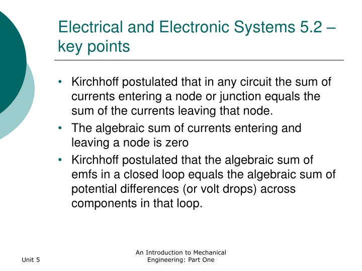 Electrical and electronic systems 5 2 key points