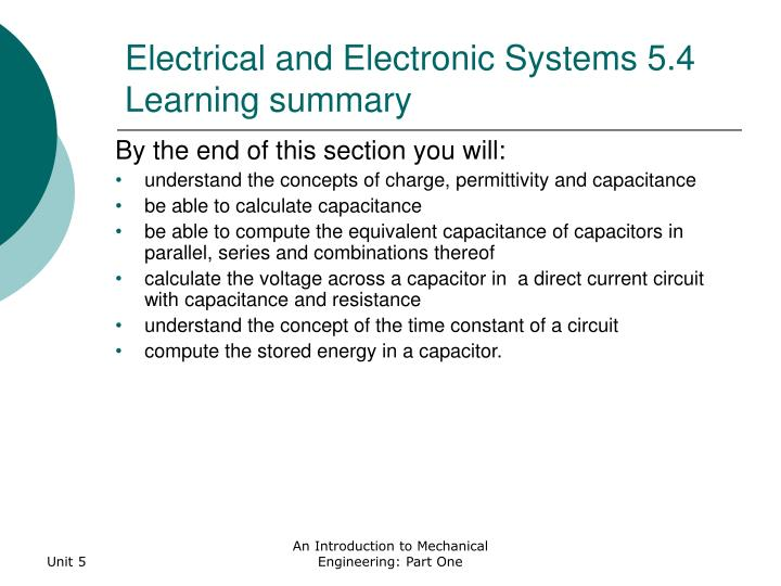 Electrical and Electronic Systems 5.4