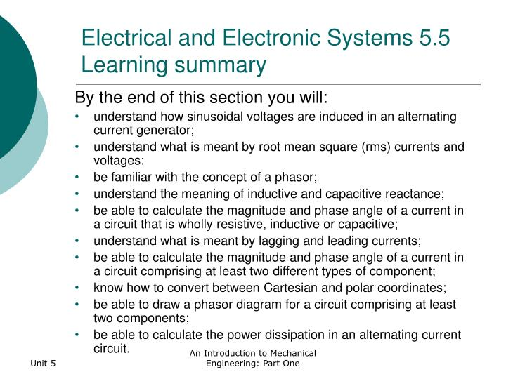 Electrical and Electronic Systems 5.5