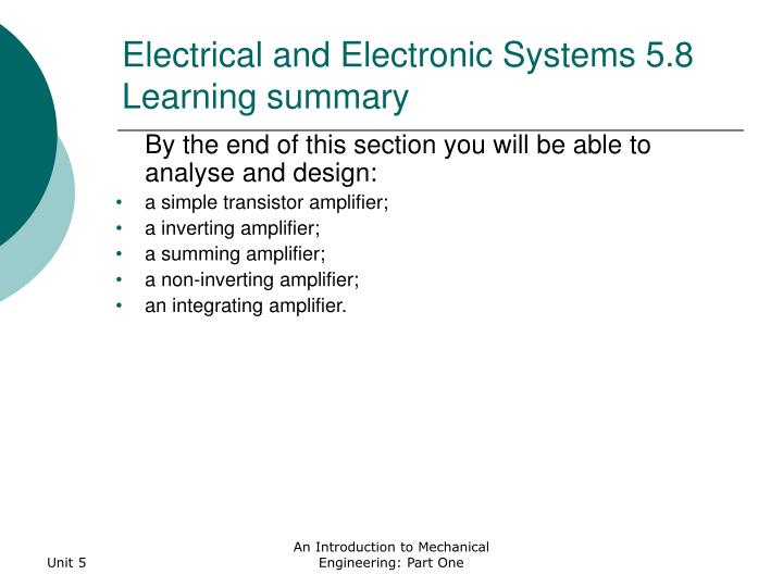 Electrical and Electronic Systems 5.8