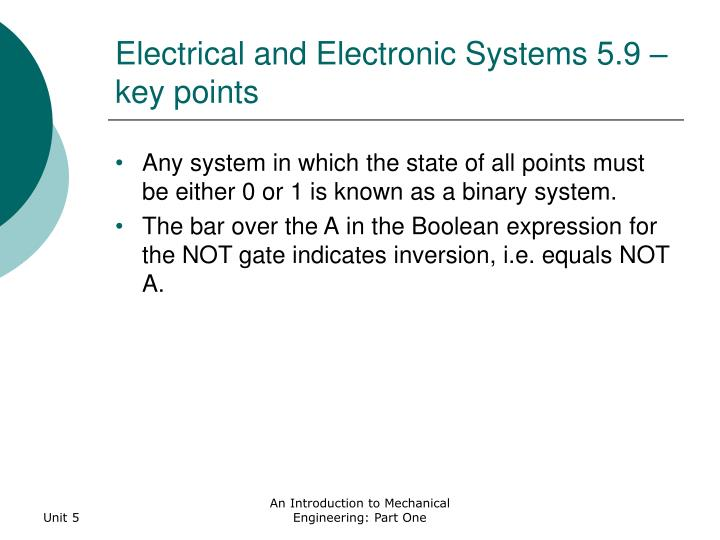 Electrical and Electronic Systems 5.9 – key points