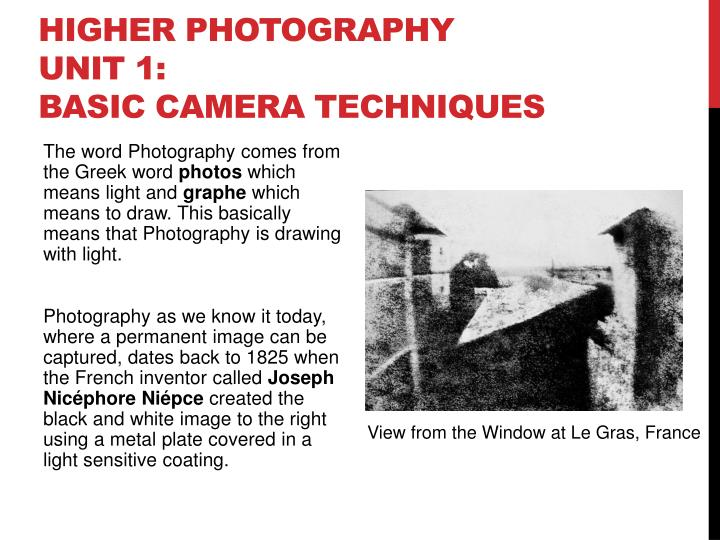 higher photography unit 1 basic camera techniques n.