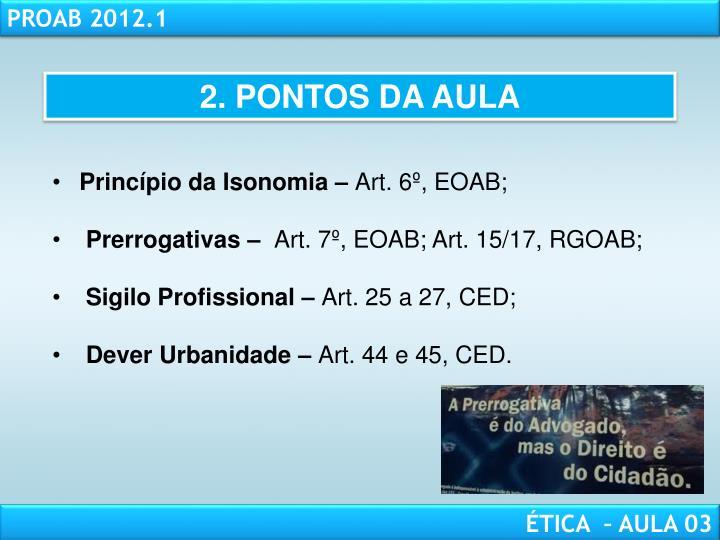 2. PONTOS DA AULA