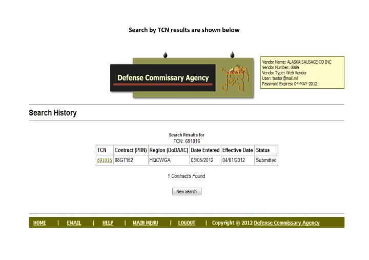 Search by TCN results are shown below