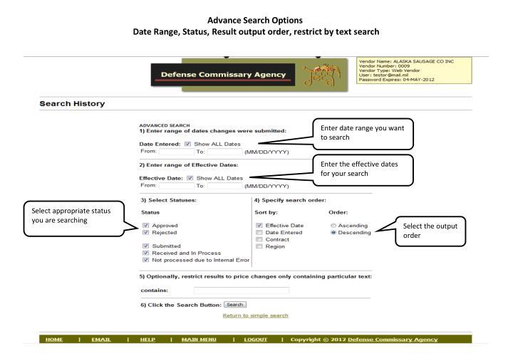 Advance Search Options