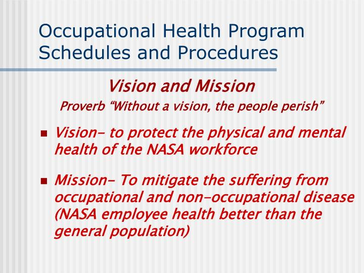 occupational health program schedules and procedures n.