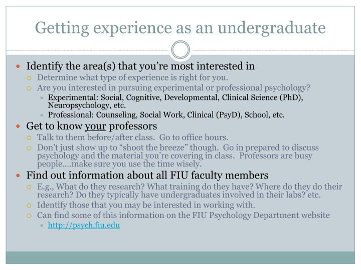 Getting experience as an undergraduate