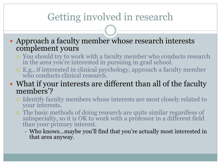 Getting involved in research