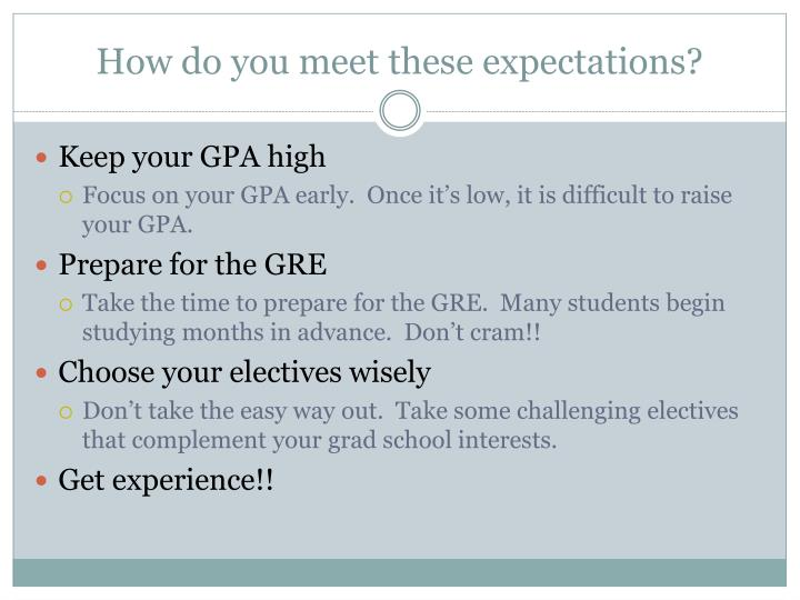 How do you meet these expectations?