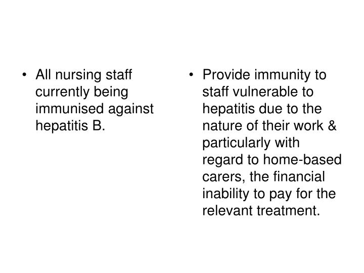 All nursing staff currently being immunised against hepatitis B.